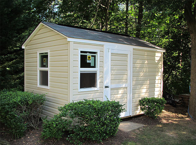 8x12x8 playhouse and garden shed combo in vinyl siding. Our Potomac gable style.