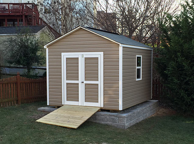 10x12x9.5 storage shed with vinyl siding. Our Potomac gable style.