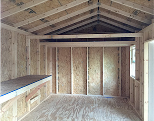 Interior workbench and loft for a 16x10x9.5 shed.