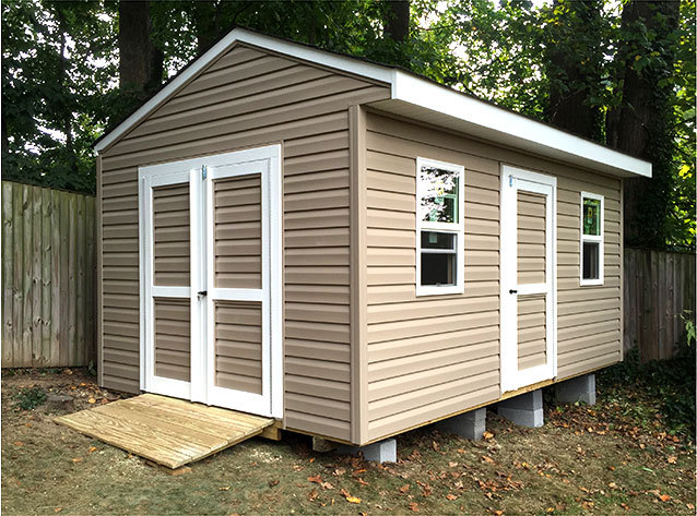 16x10x9.5 shed for bicycle and garden storage. This is our cottage style Elite design.