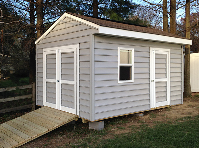 14x10x9.5 shed for riding lawnmower and bicycle storage. This is our cottage style Elite design.