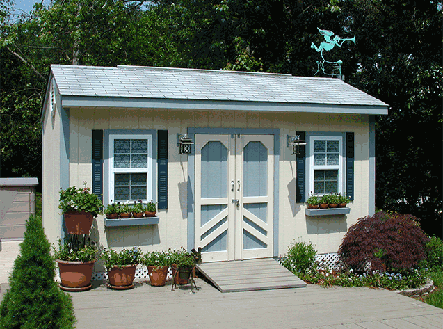 16x10x9.5 arts and crafts studio shed with a beautiful 3 color paint theme. This is our cottage style Elite design.
