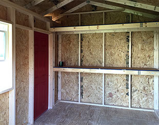 Interior shelf and workbench for a 10x8x9 garden shed.