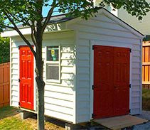 Link to info: 14x10x9.5 shed for riding lawnmower and bicycle storage.