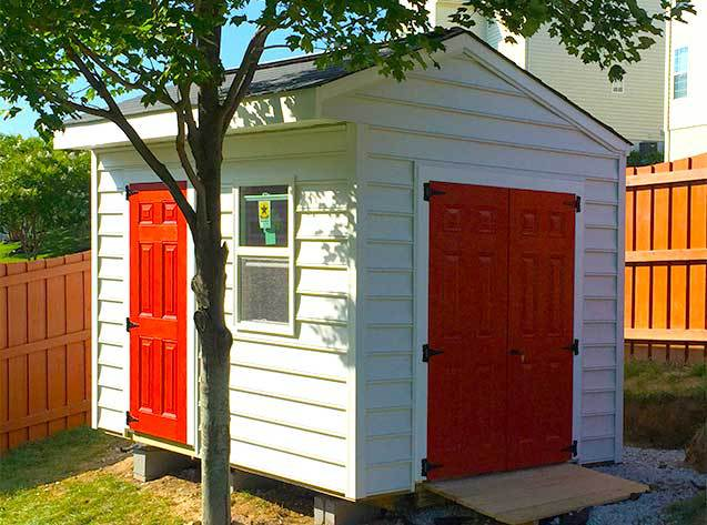 10x8x9 garden shed with fiberglass doors. This is our cottage style Elite design.