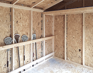 Interior storage for sports equipment 12x8x8 shed.