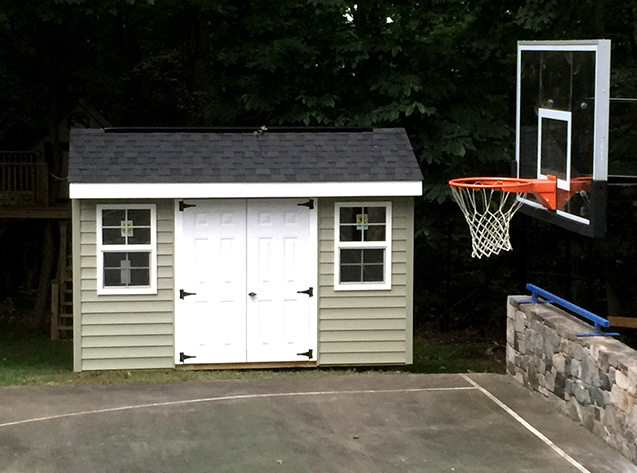 12x8x8 shed for toy cars and sporting equipment storage. This is our cottage style Elite design with vinyl siding.
