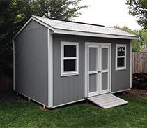 Link to info: 14x10x9.5 shed for garden tools and bicycle storage.