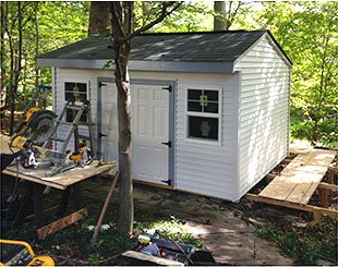 Working on a 14x10x9.5 Elite storage shed for a riding lawnmower and snowblower.