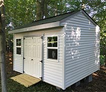 Link to info: 12x10x9.5 garden shed with fiberglass doors.