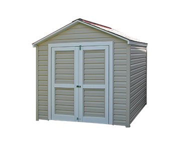 An 8x8x8 Potomac design storage shed with a 6 foot sidewall in Sandstone Beige vinyl siding and white trim paint.