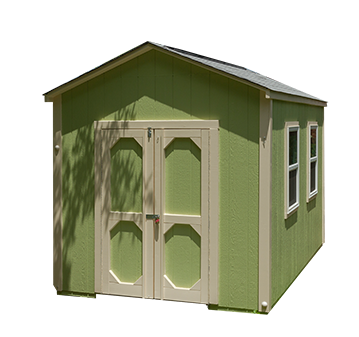 An 8x12x9 Potomac design garden shed with a 7 foot sidewall with LP SmartSide® painted green with tan trim.