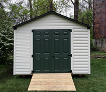 Link to info: 8x10x8 garden shed with vinyl siding.