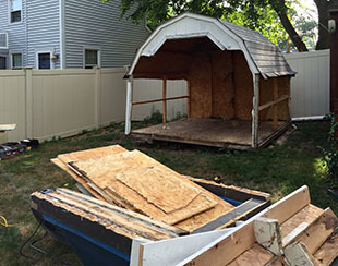 Old shed to be torn down and replaced with a new Five Star Shed.