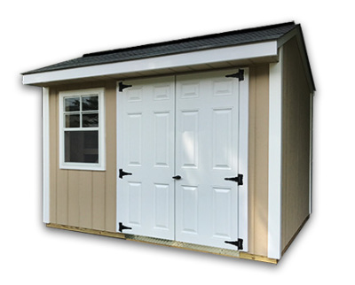 A 12x8x8 Elite design garden shed with a 6 foot sidewall height in wood.
