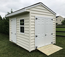 Link to info: 16x10x9.5 shed for bicycle and garden tools storage.