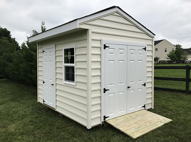 10x12x9.5 storage shed in wood, our Potomac gable style.