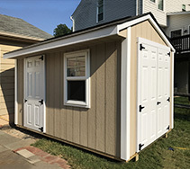 Link to info: 10x8x9 garden shed with fiberglass doors.