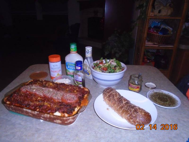 Lasagna, Toasted French Wheat Loaf, & Dipping Oil