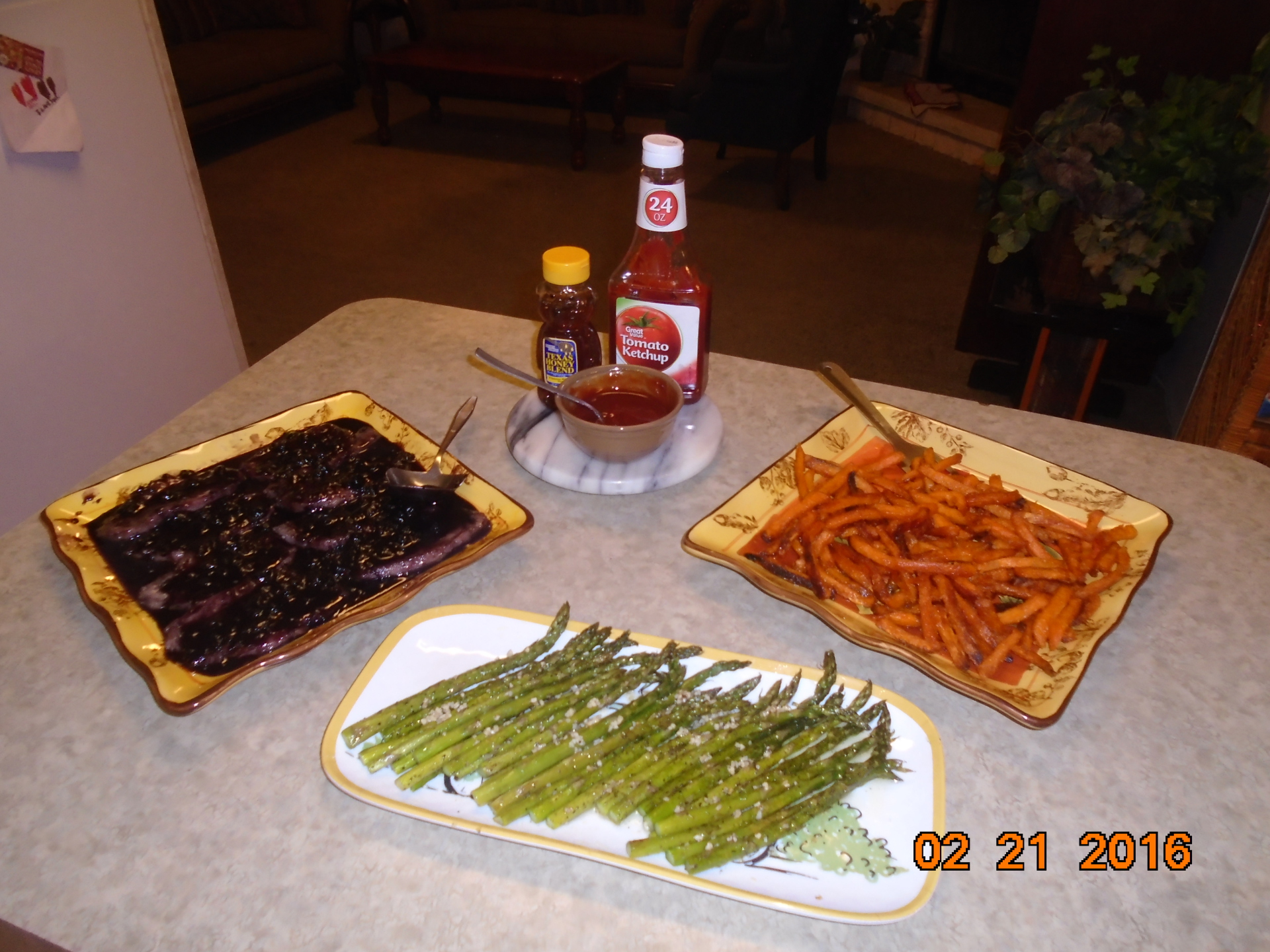 Ginger Plum Pork Chops, Asparagus, and Sweet Potato Fries Dipping Sauce