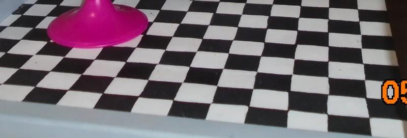 Dollhouse Remodel - Checkered Bathroom Floor