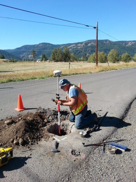 1907 1/16th corner stone - 26 inches below the road's surface