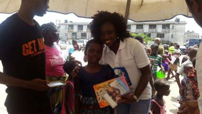 distribution of writing materials and books after deworming excercise
