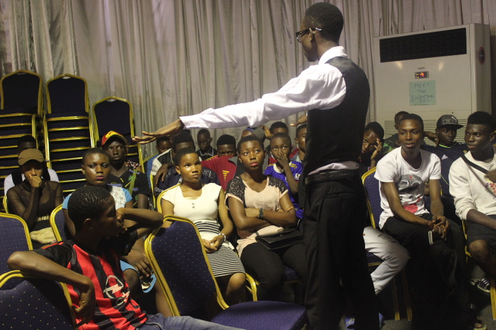 Mr James addressing prospective Artists,Actors and musicians