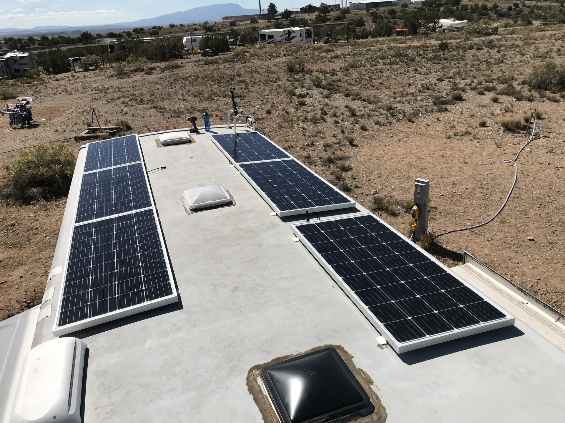 1200 Watts of solar panels on our 2011 Heartland Cyclone 3612 Toy Hauler 5th wheel.