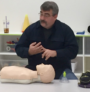 Jon Viscione,  owner of CPR Associates of New England, teaching a CPR course