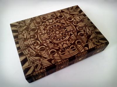 wood burned geometric sugar skull mandala book box