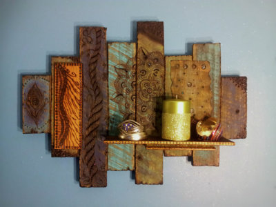 Wood Bohemian wall ART sculpture pyrography shelf mixed media flower mandala