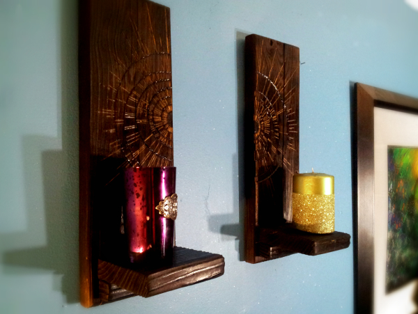 Modern pyrography starburst wall sconce set