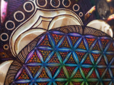 flower of life sacred geometry pyrography wall art rainbow mixed media