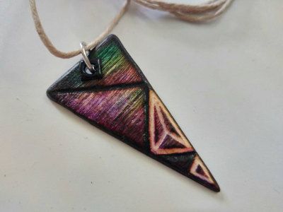 wooden triangle pendant