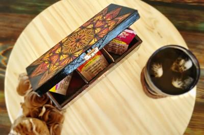 wood burned geometric sun tea box