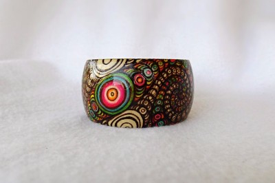 wood burned fractal art bangle