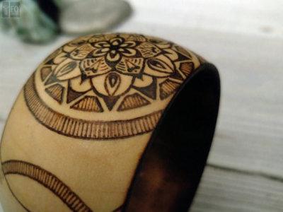 wood mandala burned bangle