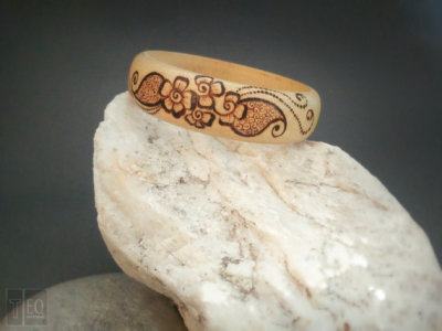 flower pyrography bangle