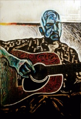 """Echo"" Pyrography, wood canvas, mixed media man playing guitar blues soul"