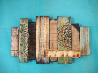 Pyrography, Wooden Bohemian Wall Sculpture, Floating Shelf, Blue and Green Wall Hanging, Candle Holder