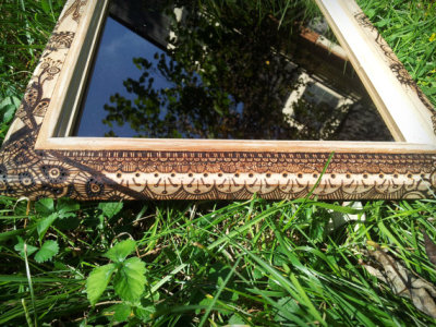 Pyrography Zentangle Henna Art Mirror Upcycled by Teq Tantrum