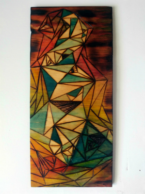 Colorful, geometric art on wood canvas