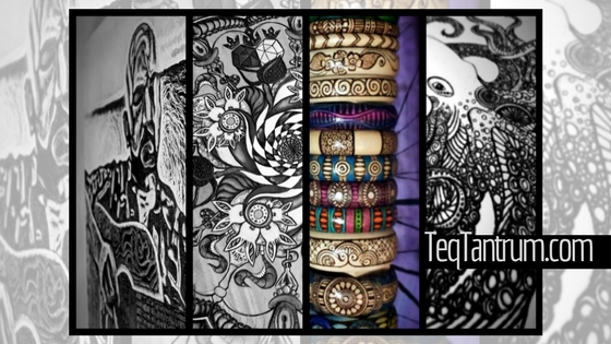 Collage of Pyrography Art by Artist Penny B of Teq Tantrum