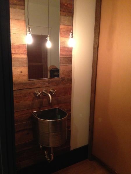 The Montauk ~ Fun, industrial half bath on first floor