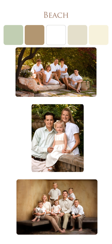 Clothing suggestions for family portraits at the beach