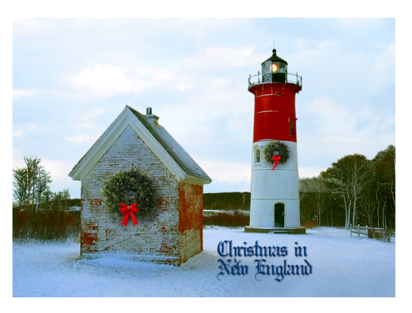 New England Lighthouse in Snow