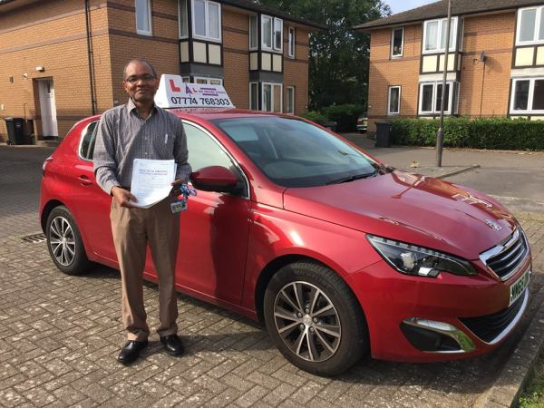 Husham Passes His Driving Test Today, 28th August 2017, With A Line Driving School