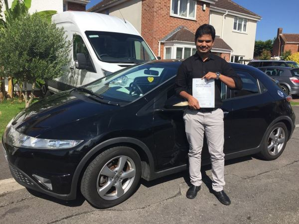 Chetan Passes His Driving Test Today, 31st August 2017, With A Line Driving School