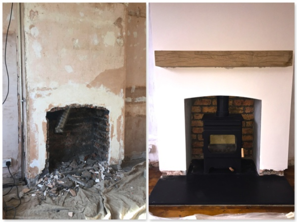 wood burning stove, oak beam